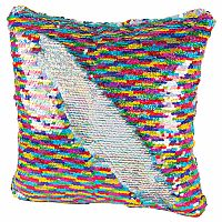 Magic Sequin Pillow - Rainbow/Silver