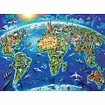 300pc World Landmarks Map