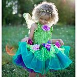 Fairy Blooms Deluxe Dress Green with Wings, Md