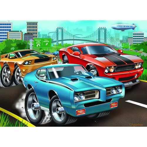 muscle cars 60 piece puzzle the granville island toy company. Black Bedroom Furniture Sets. Home Design Ideas